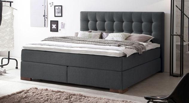 Boxspringbett Arlon aus anthrazitfarbenem Webstoff