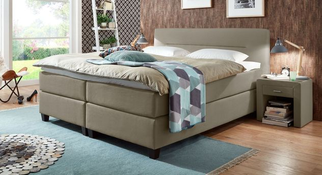 66 cm hohes Boxspringbett Clarksville aus Webstoff in Taupe