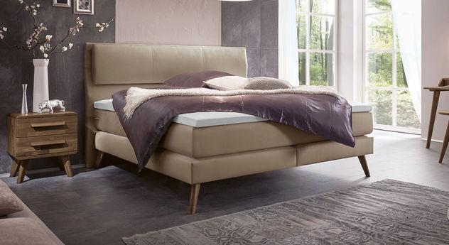 boxspringbett mid century mit kopfteil led beleuchtung espargo. Black Bedroom Furniture Sets. Home Design Ideas