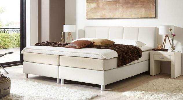 53 cm hohes Boxspringbett Greenwood aus weißem Kunstleder und cremefarbenem Stoff
