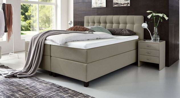 66 cm hohes Boxspringbett Luciano aus Webstoff in Taupe