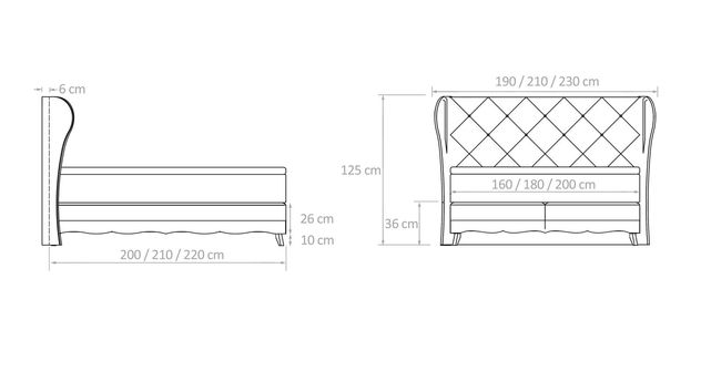 Skizze der Maße vom Boxspringbett Muanda