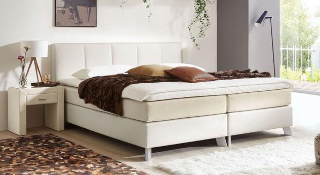 53 cm hohes Boxspringbett Oceanside aus weißem Kunstleder und cremefarbenem Webstoff