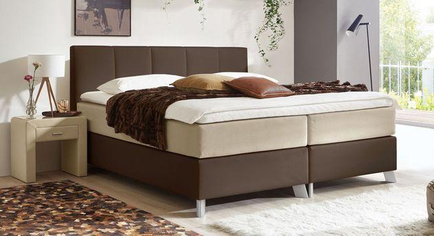 66 cm hohes Boxspringbett Oceanside aus braunem Kunstleder und naturfarbenem Webstoff