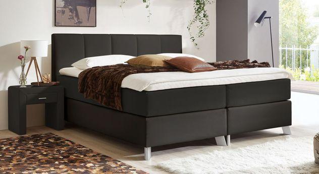 66 cm hohes Boxspringbett Oceanside aus schwarzem Kunstleder und Webstoff