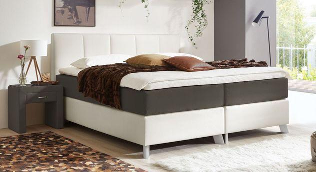 66 cm hohes Boxspringbett Oceanside aus weißem Kunstleder und anthrazitfarbenem Webstoff