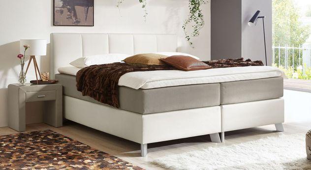 66 cm hohes Boxspringbett Oceanside aus weißem Kunstleder und taupefarbenem Webstoff
