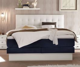 boxspringbett mit schubladen und samt kunstleder bezug selca. Black Bedroom Furniture Sets. Home Design Ideas