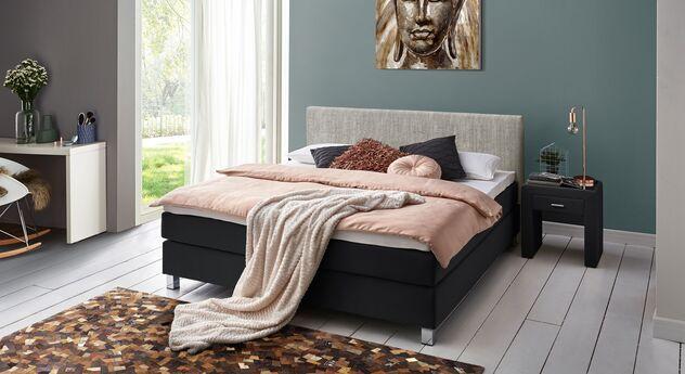 Boxspringbett Tiberio mit passenden Schlafzimmer-Accessoires