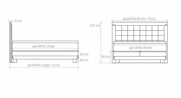 Maßgrafik für Boxspringbett Viterbus Elektro