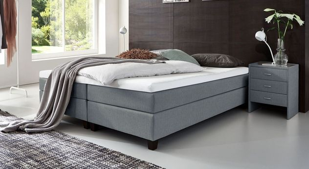 53 cm hohe Boxspringliege Luciano aus meliertem Webstoff in Blaugrau