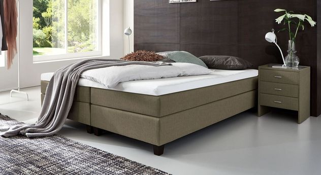 53 cm hohe Boxspringliege Luciano aus meliertem Webstoff in Graubraun