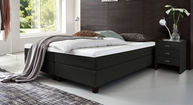 53 cm hohe Boxspringliege Luciano aus Webstoff in Schwarz