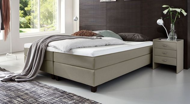 53 cm hohe Boxspringliege Luciano aus Webstoff in Taupe