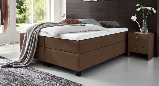 66 cm hohe Boxspringliege Luciano aus meliertem Webstoff in Braun