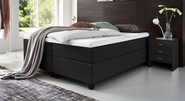 66 cm hohe Boxspringliege Luciano aus Webstoff in Schwarz