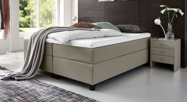 66 cm hohe Boxspringliege Luciano aus Webstoff in Taupe