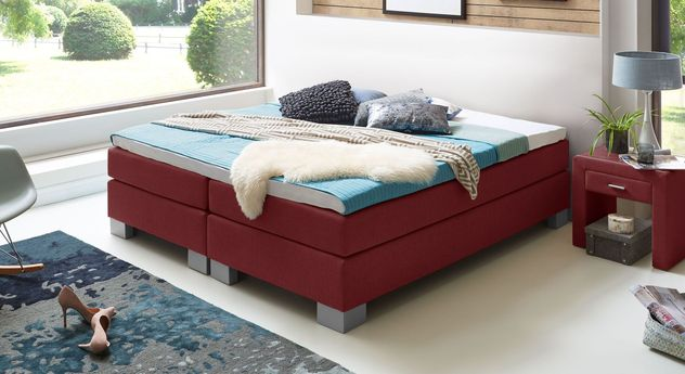 53 cm hohe Boxspringliege Puebla aus meliertem Webstoff in Rot