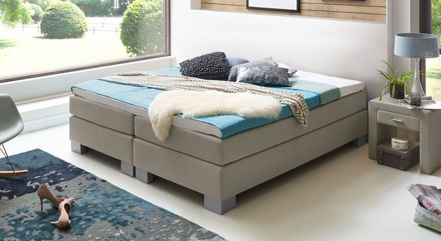 53 cm hohe Boxspringliege Puebla aus meliertem Webstoff in Taupe
