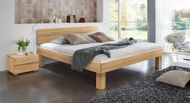 Doppelbett Madrid Komfort aus Buche natur in 25 cm Höhe
