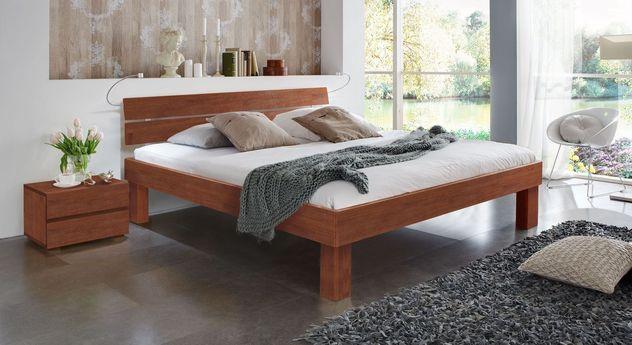 Kirschbaumfarbenes Doppelbett Madrid Komfort in 25 cm Höhe