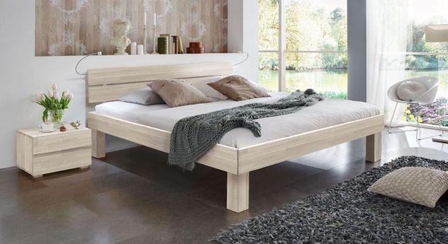 Weißes Doppelbett Madrid Komfort in 25 cm Höhe