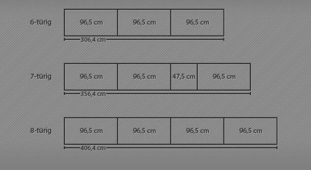 Breitenansicht der 6-8-türigen Drehtüren-Kleiderschränke
