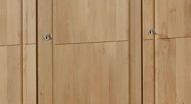Praktischer Drehtüren-Kleiderschrank Ageo Holzfront zum Abschließen