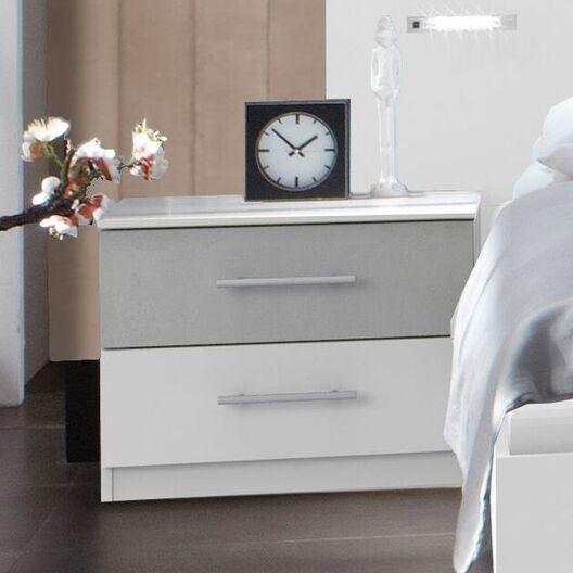 Nachttisch Dahlen in alpinweißem und Beton-Dekor