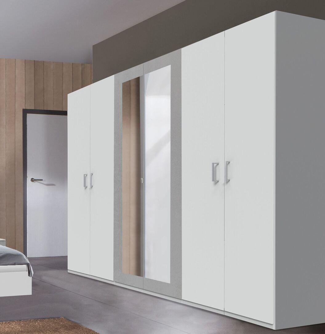 Drehtüren-Kleiderschrank Dahlen in alpinweißem und Beton-Dekor