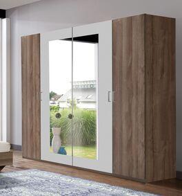 Zweifarbiger Drehtüren-Kleiderschrank Mandola mit Spiegel