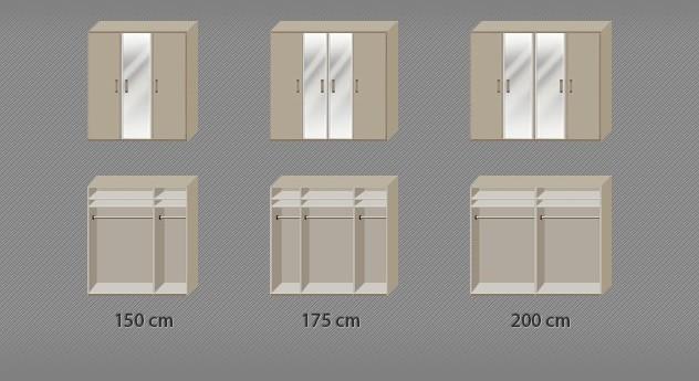 Drehtüren-Kleiderschrank Montego mit Innenansicht zur Aufteilung