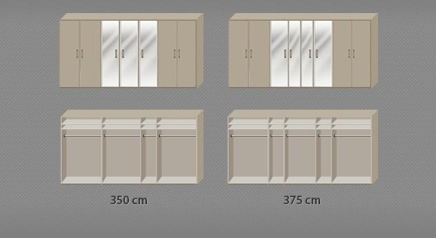 Drehtüren-Kleiderschrank Montego inklusive Innenansicht der Ausstattung