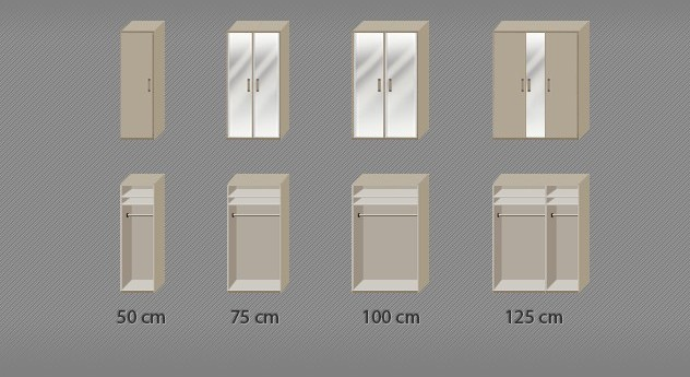 Drehtüren-Kleiderschrank Montego mit praktischer Innenansicht