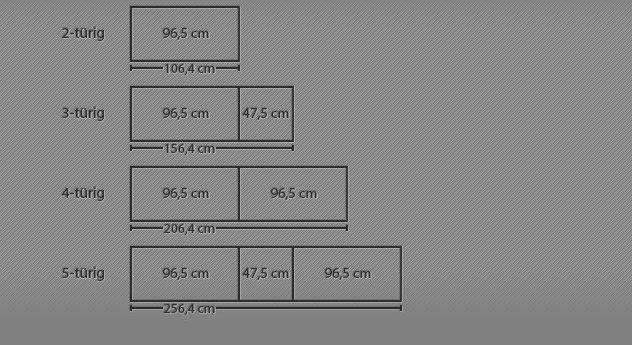 Breitenansicht der 2-5-türigen Drehtüren-Kleiderschränke Taras
