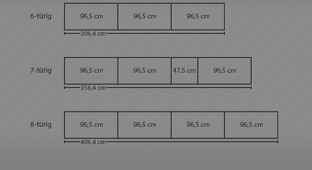 Breitenansicht der 6-8-türigen Drehtüren-Kleiderschränke Taras