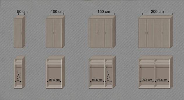 Drehtüren-Kleiderschrank Troia Ausstattungs-Übersicht