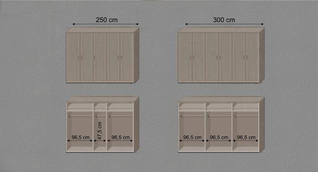 Drehtüren-Kleiderschrank Troia mit Grafik zu Inneneinteilung