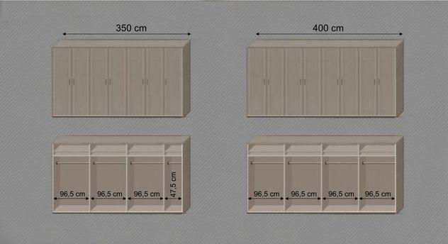 Drehtüren-Kleiderschrank Troia mit Infografik zu Kleiderstangen und Einlegenböden