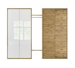 Drehtüren-Kleiderschrank Vacallo in Glas-Wildeiche bicolor