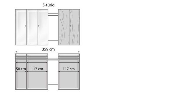 Drehtüren-Kleiderschrank Vacallo mit Innenansicht der Einteilung
