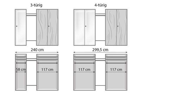 Drehtüren-Kleiderschrank Vacallo mit Maßgrafik zur Inneneinteilung