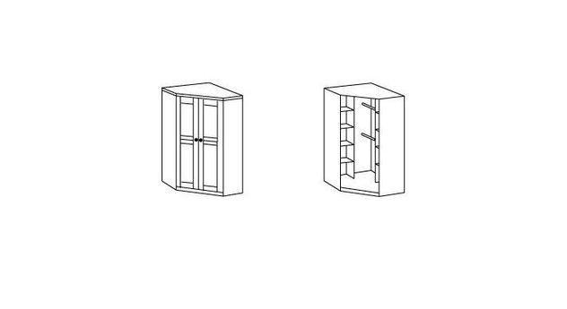 Eck-Kleiderschrank Carlino mit umfangreicher Innenausstattung