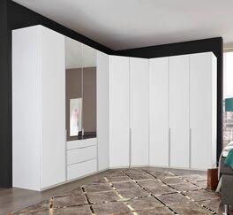 Eleganter Eck-Kleiderschrank Ceprano in Alpinweiß