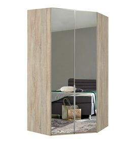 Geräumiger Eck-Kleiderschrank Coreno mit Spiegel
