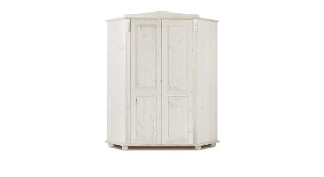 Eck-Kleiderschrank Countryside aus weiß gewachster Kiefer