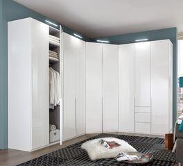 Eck-Kleiderschrank Esperia in Hochglanz Weiß