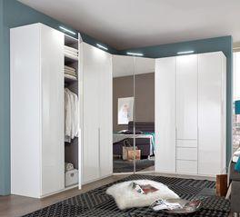 Eck-Kleiderschrank Esperia mit Spiegel-Drehtüren