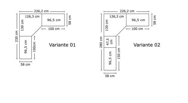 Breitenansicht der kleineren Varianten des Eck-Kleiderschranks Tiko