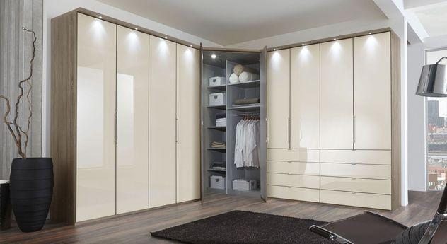 eckkleiderschrank magnolie mit schubladen und spiegel tiko. Black Bedroom Furniture Sets. Home Design Ideas